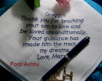 Father of the Groom, Custom Text - touch his heart with your own words, a Gift Boxed Handkerchief, cotton and thoughtful.
