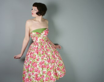50s COTTON dress with red and PINK flowers - strapless PETAL shelf bust and full skirt - romantic 1950s summer dress - xs
