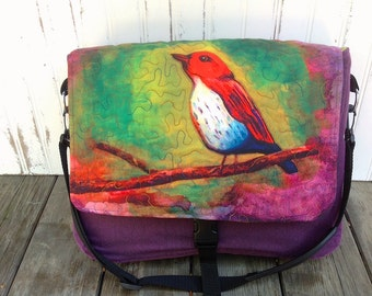 Watercolor Bird Messenger Bag