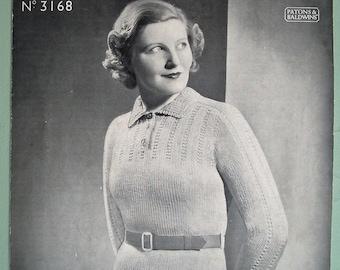 Vintage 30s Knitting Pattern Womens Sweater Jumper 30s original pattern - Patons & Baldwins No. 3168 UK