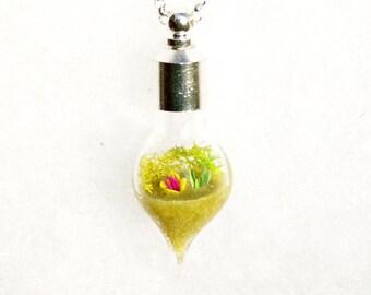 Terrarium Jewelry, Yellow Necklace, Miniature Garden Necklace, Earth Necklace, Garden Sculpture Necklace by Hieropice