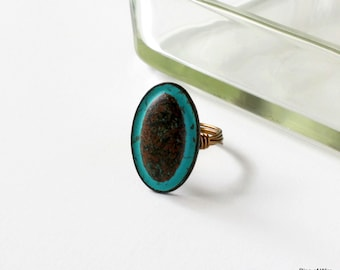Oval Button Ring, Metal Button Ring, Button Jewelry, Statement Ring, Blue Patina Ring, Rustic Style Ring, Rusted Button, Wire Wrapped Ring