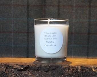 Natural Rose & Geranium Votive Candle