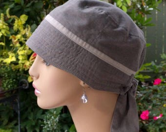 Womens Chemo Hat Organic Cotton Cancer Cap for Hair Loss Grey Chemotherapy Cap Adjustable and Reversible Organic Cotton MEDIUM