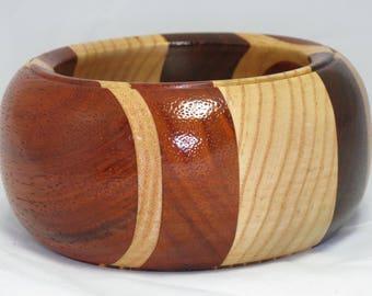 "Hand-Turned 6"" x 3"" Laminated Wood Bowl - Padauk and White Ash"