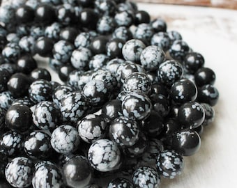 12mm Beads, Snow Flake Obsidian, Big Beads, Big Gemstone Beads, Gemstone Supply, Beads Wholesale, Round Beads, Black and White beads