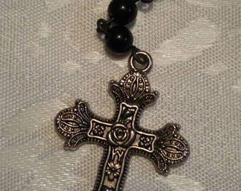 Black Obsidian glass skull bead Rosary necklace  (ro-26-0022)