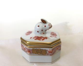 Herend Bunny Porcelain Trinket Box Ring Box Rabbit Figurine Lid 6020