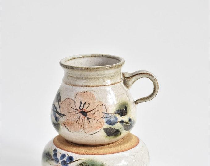 vintage hand painted flower ceramic soup bowl | coffee mug set