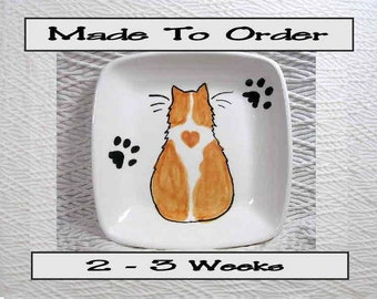 Orange and White Cat With Heart on Square Ceramic Dish or Bowl Handmade To Order