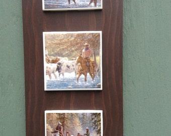 Western ranch key holder, western ranch wall decor, key hook, cowboys and ranch scenes