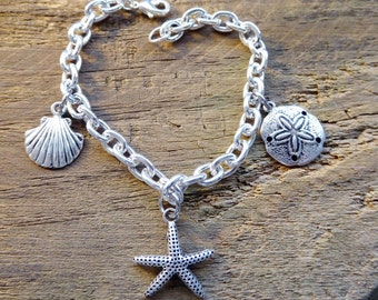 Beach bracelet, silver, ocean  starfish  seashell, sand dollar,  vacation jewelry, free shipping, and gift box, ready to ship