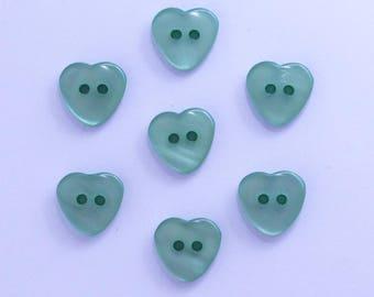 Heart 12mm set of 10 buttons: Aqua - 002208