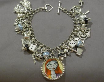 NEW Nightmare Before Christmas Halloween Gothic Sally Black and Light blue Charm Bracelet