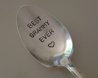 Best Grammy Ever    vintage silverware hand stamped spoon