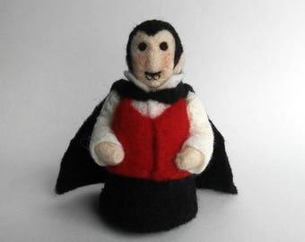 Needle felted Vampire, Dracula, Halloween Decoration, Halloween art, Fall decor, soft sculpture, felted wool art doll, shelf decor