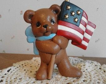 Ceramic Timmy Bear w/ American Flag