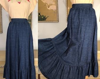 1970s Denim Skirt by The Original Pants Plus New York -- Lightweight Denim with Pockets!
