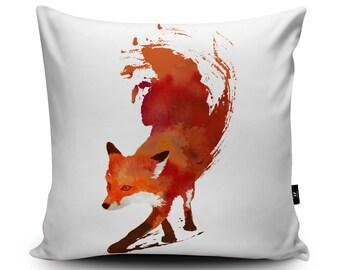 Fox Vegan-Suede Cushion by Robert Farkas | Running Red Fox Pillow | Handmade Foxy Cushion Cover | Animal Pillow | Fox Illustration Art Decor