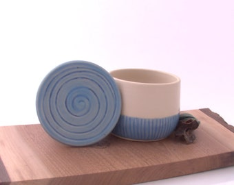 Unique Pottery French  Butter Keeper, Light blue and cream  ceramic French Butter dish.  Butter crock. Moms Day Gift