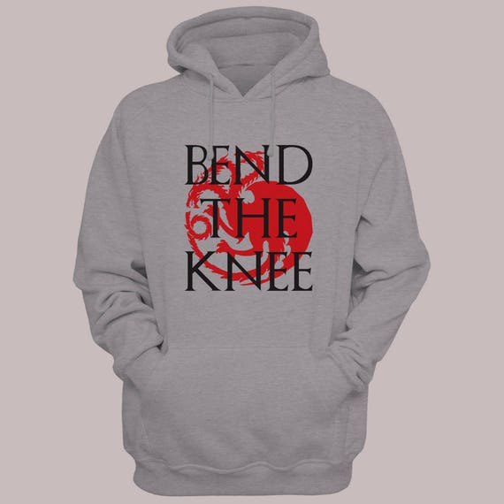 "Game of Thrones ""Bend The Knee"" Hoodie Sweater S-XL Hooded Pullover Khaleesi Targaryen"