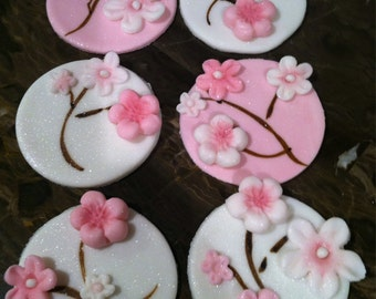 Edible Cherry Blossom Cupcake Toppers