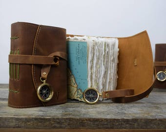 Leather Journal Custom Small Leather Travel Journal with Compass, Map, and Initials