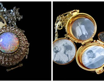 The Filigree Opal - Vintage Coro Locket Necklace
