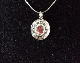 Embroidered Rose Pendant
