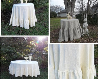 Floor Length Ruffled Linen Tablecloth 90 Inch Ruffled Tablecloth Custom Fabrics Handmade Wedding Decorations Table Decor French Country