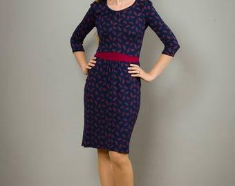 """Kleid """"Nele"""", mit lässigen Taschen, blau-rot gemustert"""