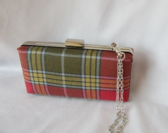 Ready to ship Clan Buchanan Weathered Tartan Clutch Purse, Mini audiere, Made in Scotland for Ceilidh / Wedding or Special Occasion