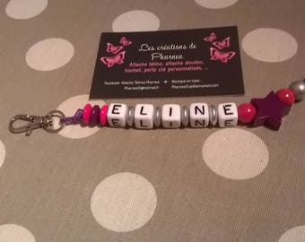 Personalized with name star Keychain purple pink silver