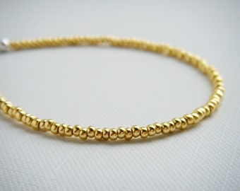 Gold tiny beaded bracelet, friendship bracelet, seed bead bracelet