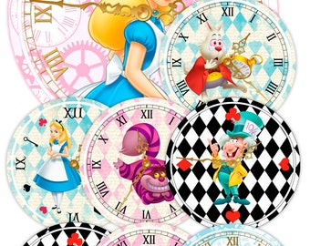 Alice in Wonderland Clocks, Printable Clocks, Alice in Wonderland Decorations, Alice Party, Alice in Wonderland Printables, Alice Decoration