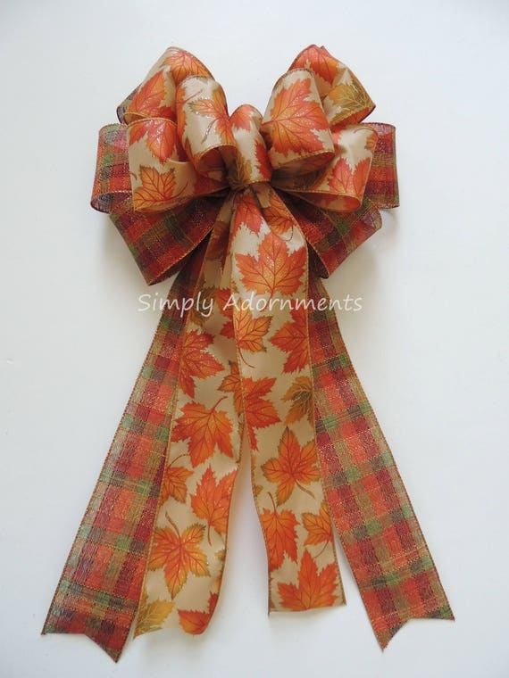 Fall Leaves Wreath Bows Fall Plaid Bow Burnt Orange Fall Leaves Bow Thanksgiving Wreath Bows Fall Colors Wedding chair bow Fall ceremony Bow