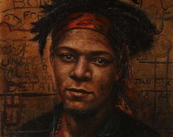 Original Oil Portrait - Jean-Michel Basquiat