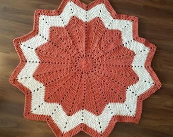 Crochet Baby Blanket Star made from Bernat Blanket Yarn Orange with Cream Stripe