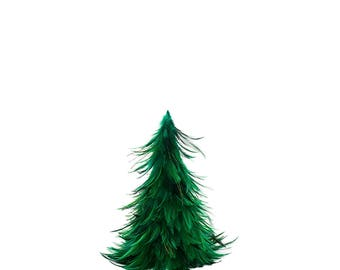"""Hackle Feather Tree 12"""" - Emerald"""