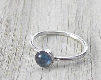 Labradorite Gemstone Ring with Blue Flashes