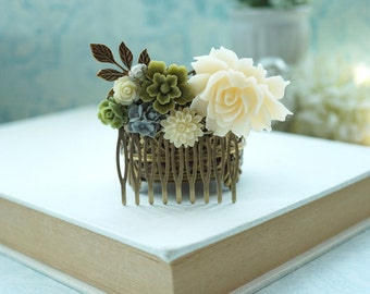 Shades of Ivory and Olive Flower Comb, Brass Leaf Flower Collage Hair Comb, Olive Wedding Comb. Bridesmaids Woodland Country Nature Wedding