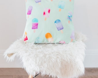 turquoise throw pillows, popsicle, watercolor, mint, pillow cover, 18x18, nursery decor, turquoise kids room, baby room decor