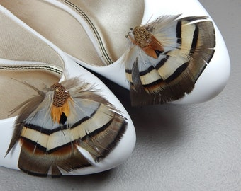 Feather shoe clips partridge feathers accented with gold caviar