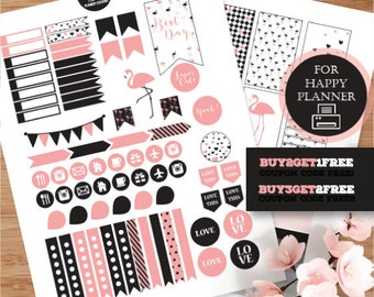 Happy Planner, Flamingos Stickers, Black Pink Planner Kit, Printable  Stickers, MAMBI Black Planner Stickers, Pink Flamingos Weekly Planner