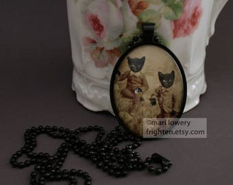 Halloween Jewelry Black Cat Necklace, Twin Brothers, Victorian Cats, Animals in Clothes, Animal Pendant, Halloween Pendant, frighten