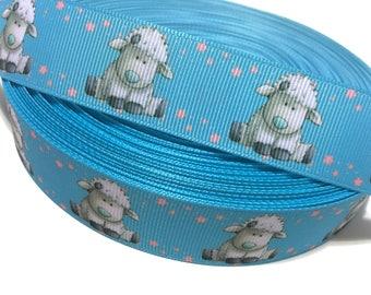 "1"" Lamb Ribbon,25mm Lamb Grosgrain Ribbon, Baby Shower Ribbon, Animals Ribbon"