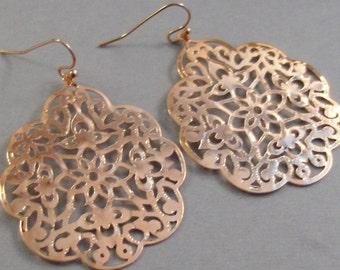 Rose Lace,Rose Gold Jewelry,Large Earring,Boho Earring,Rose Gold Earrings,Rose Gold boho earring,Gypsy Earring,Rose Gold,Gold Filled,valleyg