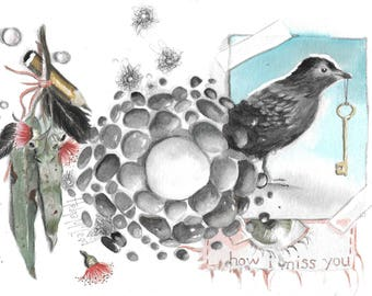 My little collection of love items. Eucalyptus leaves. Pebbles. Feathers. Bird. Key. Love Letter. Arty by Helga McLeod