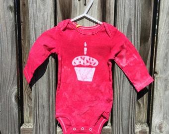 First Birthday Baby Bodysuit, Cupcake Baby Bodysuit, Girls First Birthday Bodysuit, Boys First Birthday Bodysuit, Red Cupcake (12 months)