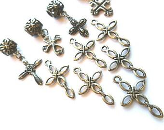 TEN Assorted Silvertone Cross Charms,  Silver Cross, Jewelry Craft Supplies, Silvertone Cross Pendants,  Cross Supplies, Dangling Crosses